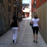 White pants in Barcelona... don't look too closely or you might see the remnants of mud speckles from earlier in the trip.
