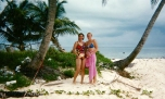 A picture from that first trip to Belize... Mom and I on Laughing Bird Caye during a day of snorkeling.