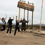 The burst setting allowed us to actually get a shot of all of us in the air at once while jumping for nothing in Nothing, AZ on a road trip last winter.