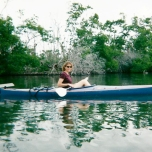 Here is my mom on that first trip. Shortly after this shot was taken, a manatee came up to the surface between our two kayaks. It was terrifying.