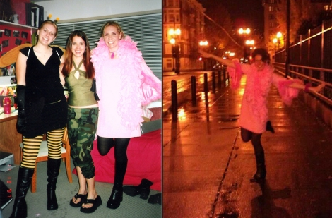 Flamingo costume then and now