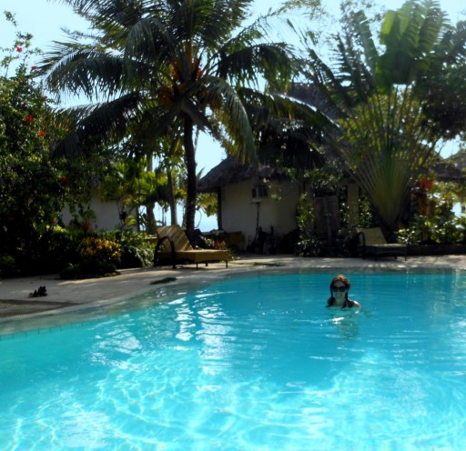 Julie in the pool in Siquijor.