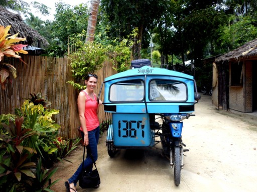 Julie with the tricycle in Siquijor.