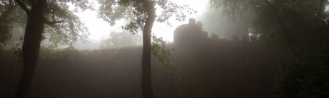 Moorish Castle in the mist. Sintra, Portugal