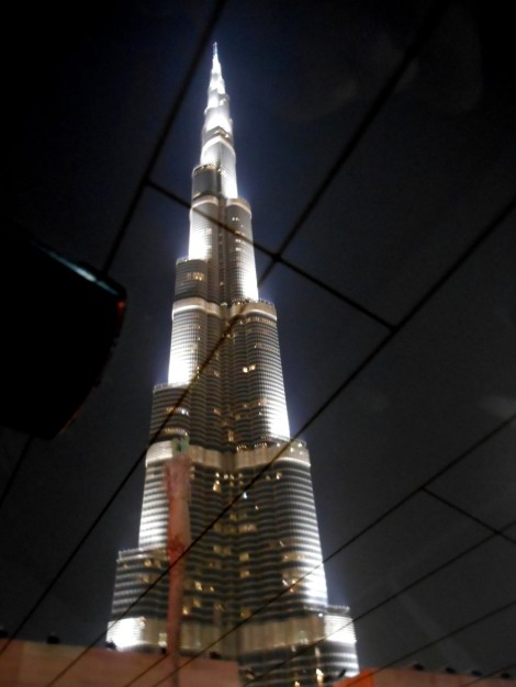 Burj Khalifa at night from our cab window.