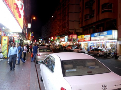 Dubai random street at night.