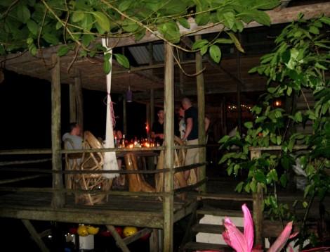 Jungle River Lodge after dark.