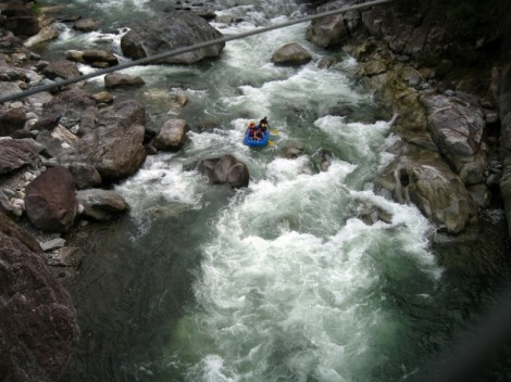 Rafting down the Cangrejal at the Jungle River Lodge in Honduras.