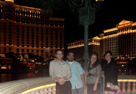 Andy, Chris, Ali, Julie at the Bellagio Fountain.