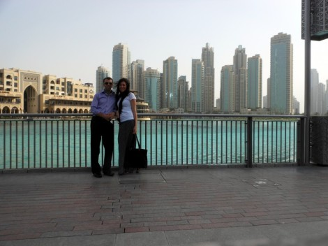 Andy and Julie near the Dubai Fountain