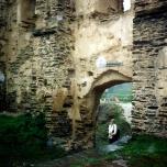 An arched doorway at Bug Rheinfels Castle in Sankt Goar, Germany