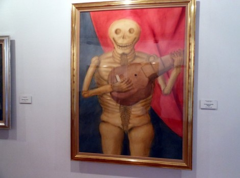 Chubby skeleton at the Museo Botero in Bogota, Colombia