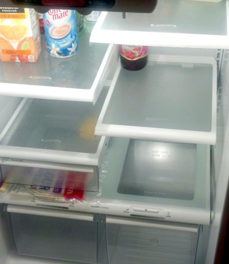 Empty fridge after travel.