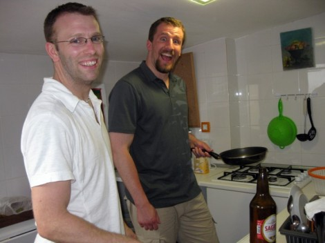 Cooking at our apartment in Lisbon, Portugal.