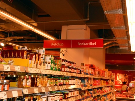 Ketchup aisle at a supermarket in Munich, Germany.