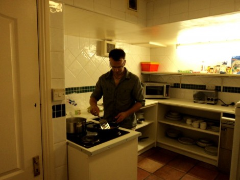Cooking at a hostel in Dublin, Ireland.