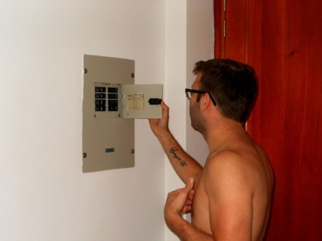 Circuit breaker in our Cartagena hotel room.