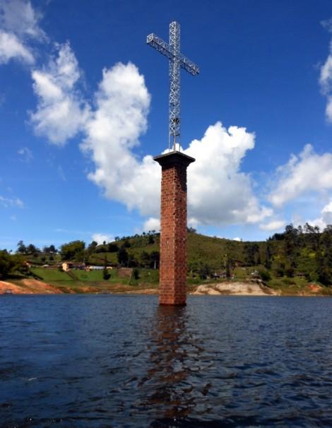 The cross of Viejo Penol in Guatape, Colombia.