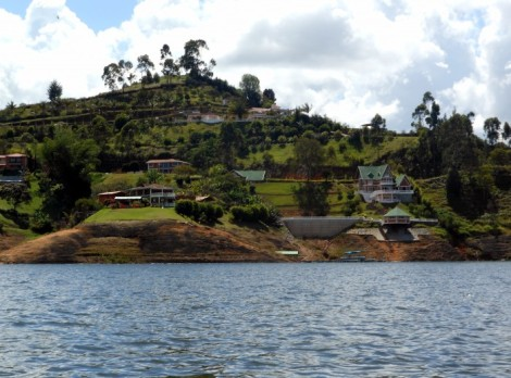 Houses along the lake in Guatape, Colombia.