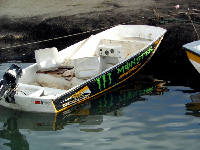 Monster Energy Drink boat on Guatape lake in Colombia.