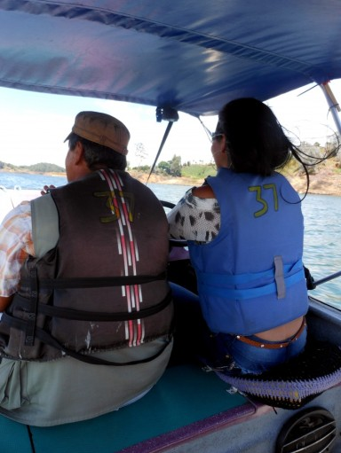 Boating in Guatape, Colombia.