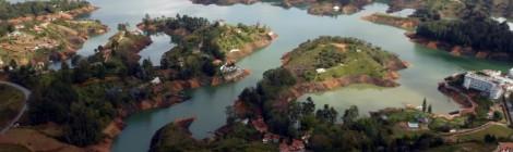 Guatape, Colombia lake from La Piedra.