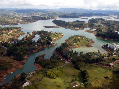 Guatape, Colombia lake from La Piedra.
