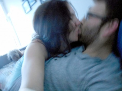 Blurry kiss.