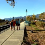 All the girls on the railroad walk