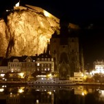 Dinant, Belgium at night.