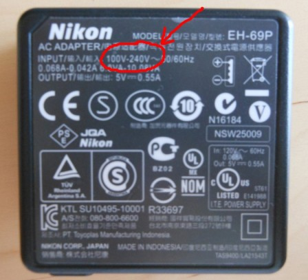 Camera charger voltage information.