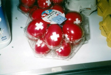 Supermarket eggs in Lauterbrunnen, Switzerland.