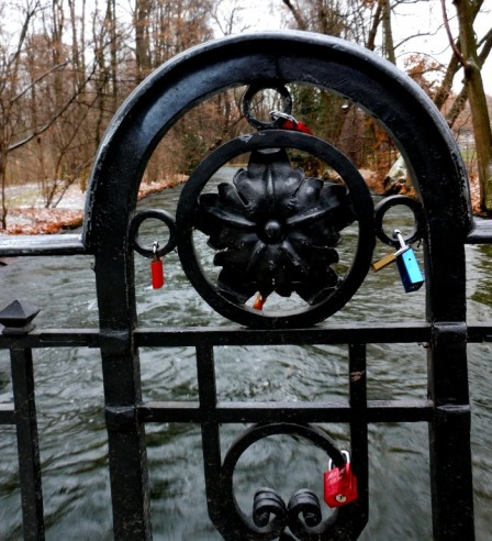 Love locks at the Englischer Garten (English Garden) in Munich, Germany.