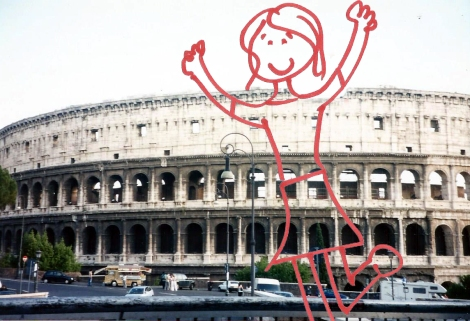 Stick figure Julie in Rome