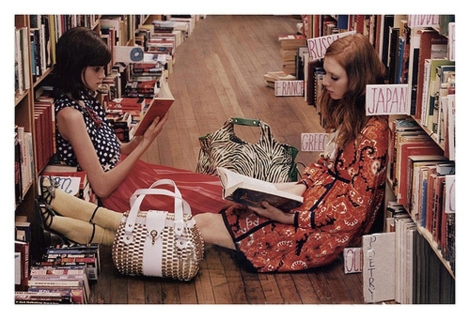 Kate Spade Ad Travel Section of Bookstore.
