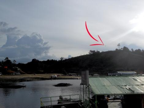 Zip line in Guatape, Colombia.