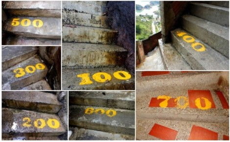 Numbered stairs in Guatape, Colombia.