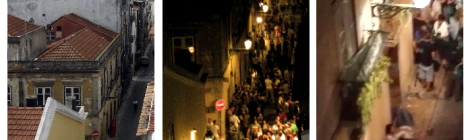 Lisbon nightlife in Bairro Alto district.