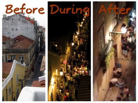 Lisbon nightlife in Bairro Alto district.