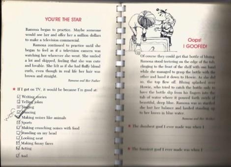Ramona Quimby diary page.